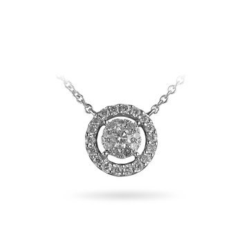 14K WG Diamond Cluster Galaxy Necklace Pendant With Ou