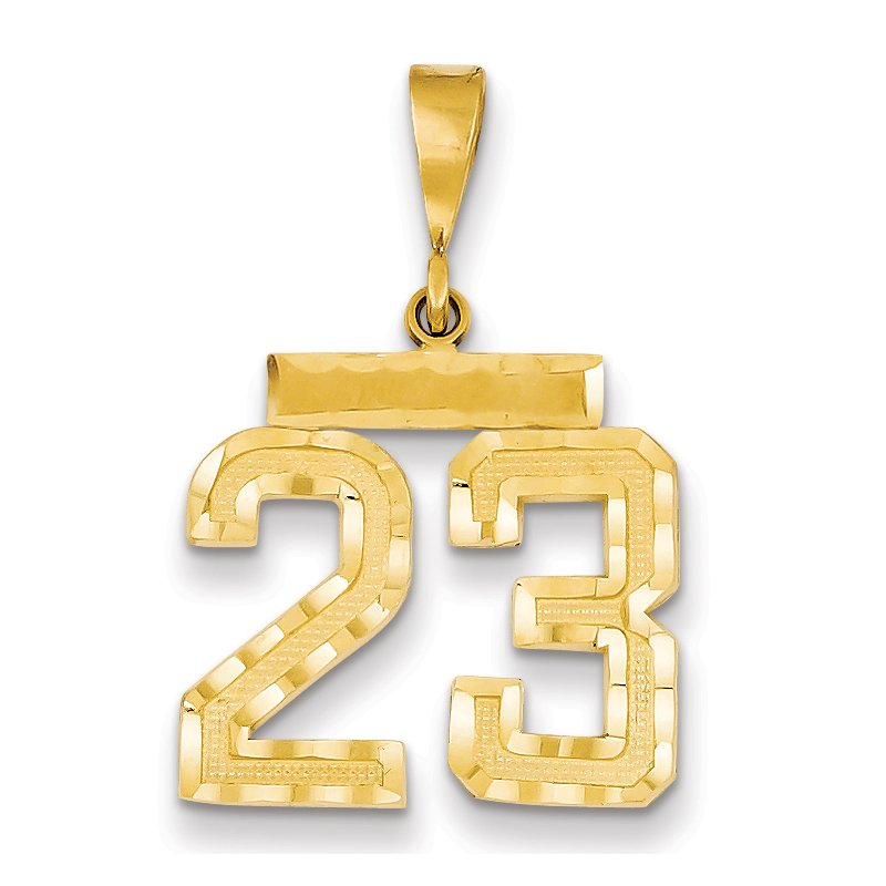 Quality Gold 14k Medium Diamond-cut Number 23 Charm