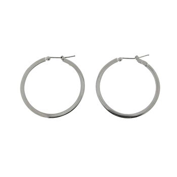 18KT GOLD MEDIUM FLAT HOOP EARRINGS
