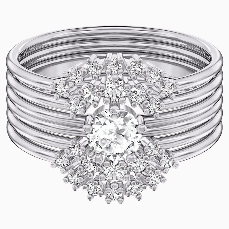 Swarovski Penélope Cruz Moonsun Ring Set, White, Rhodium plated