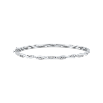 Round Cut Diamond Gold Bangle Bracelet