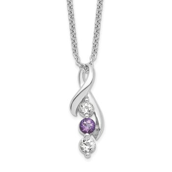 Sterling Silver Survivor Clear & Purple Swarovski Topaz Jen w/ext Necklace