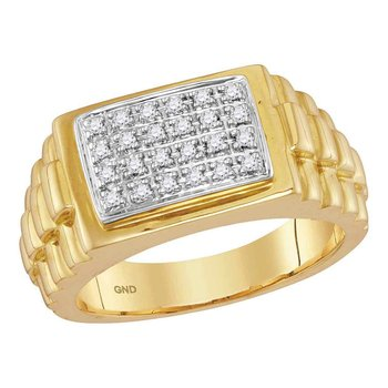 10kt Yellow Gold Mens Round Diamond Rectangle Cluster Ribbed Side Ring 1/5 Cttw