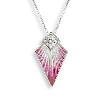 Pink Art Deco Necklace.Sterling Silver-White Sapphire