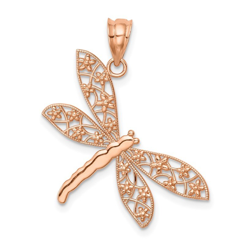 Quality Gold 14K Rose Polished Dragonfly Pendant