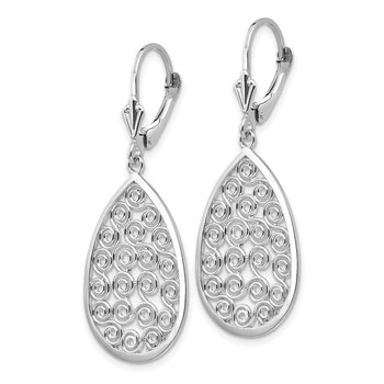 14k White Gold Teardrop Filigree Dangle Leverback Earrings