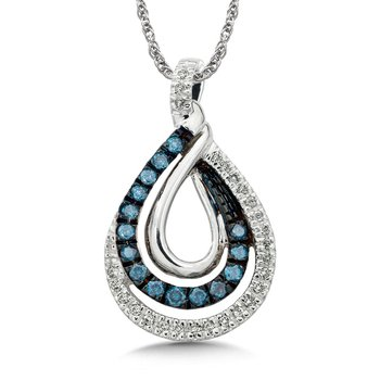 Pave set Blue and White Diamond Entwined Pendant 14k White Gold  (1/4 ct. tw.)