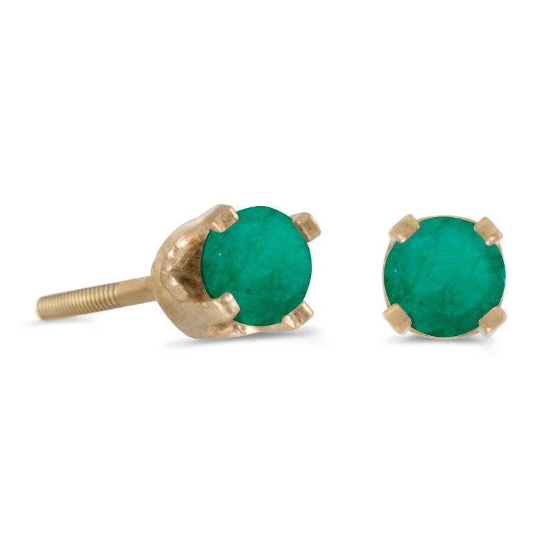 Color Merchants 3 mm Petite Round Emerald Screw-back Stud Earrings in 14k Yellow Gold