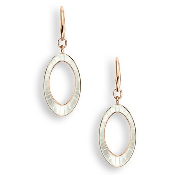 White Oval Wire Earrings.Rose Gold Plated Sterling Silver