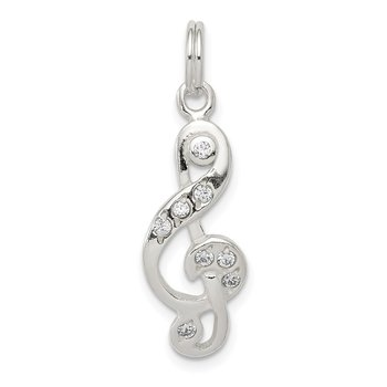 Sterling Silver Polished CZ Music Note Charm