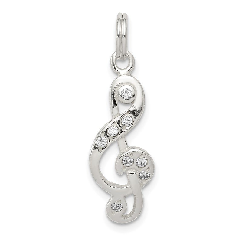 Quality Gold Sterling Silver Polished CZ Music Note Charm