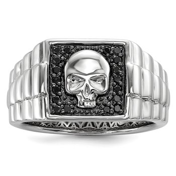 Sterling Silver Rhod Plated Black Diamond Square Skull Men's Ring
