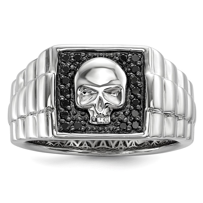 Quality Gold Sterling Silver Rhod Plated Black Diamond Square Skull Men's Ring