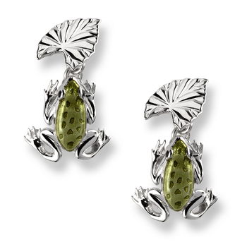 Sterling Silver Frog and Lilypad Cufflinks -Green.