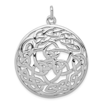 Sterling Silver Rhodium-plated Polished Celtic Pendant