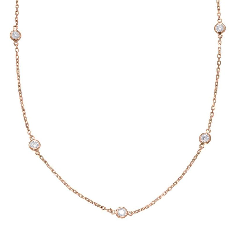 Briana Rose Gold Diamond By The Yard Necklace