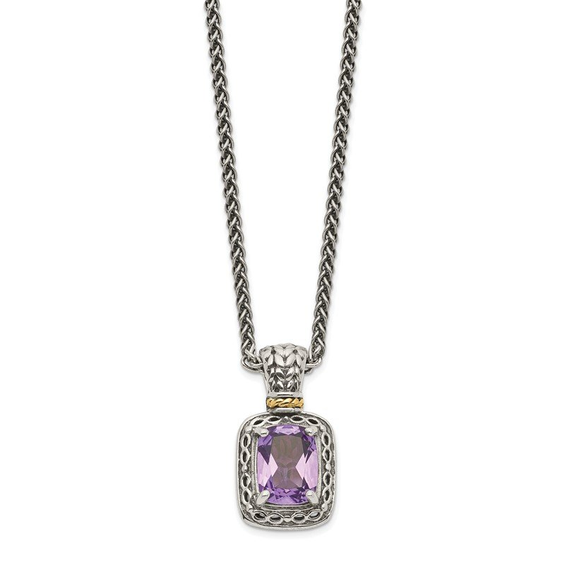 Quality Gold Sterling Silver w/14k Antiqued Amethyst Necklace