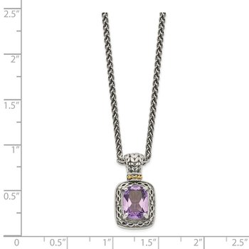 Sterling Silver w/14k Antiqued Amethyst Necklace