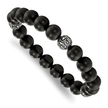 Stainless Steel Antiqued and Polished w/Blk Agate Beads Stretch Bracelet