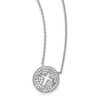 Sterling Silver Polished CZ Cross Necklace