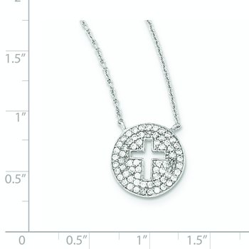 Sterling Silver 18in Rhodium-plated Polished CZ Cross Necklace