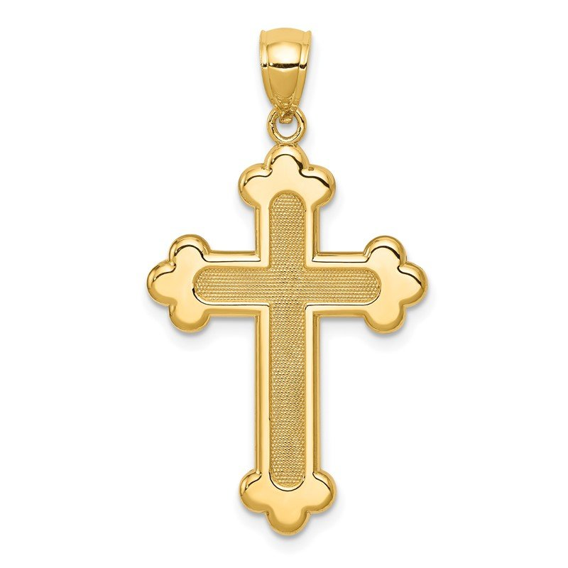 Quality Gold 14K Satin and Polished Budded Cross Pendant