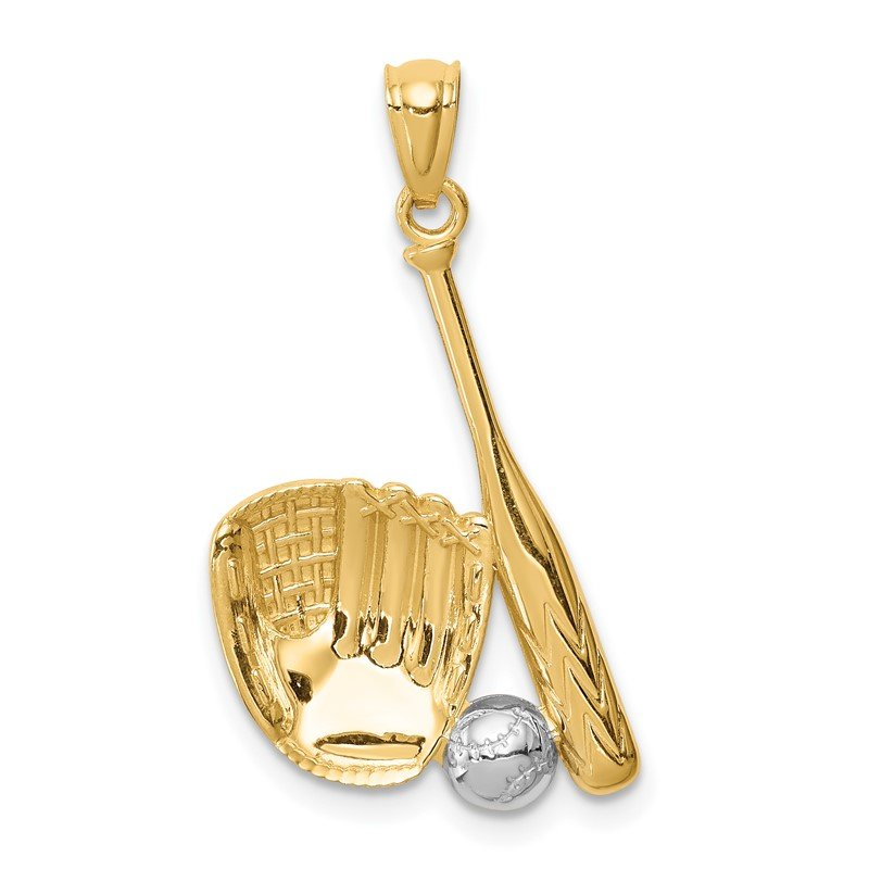 Quality Gold 14K White Rhodium Baseball Glove Bat Ball Pendant