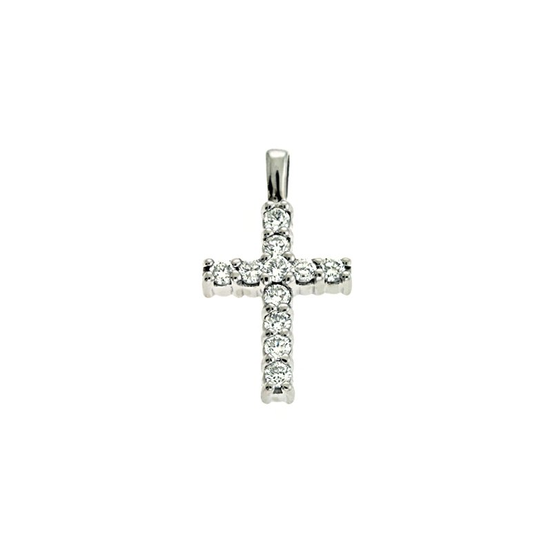 Briana White Gold Shared Prong Cross
