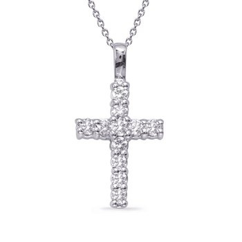 White Gold Shared Prong Cross