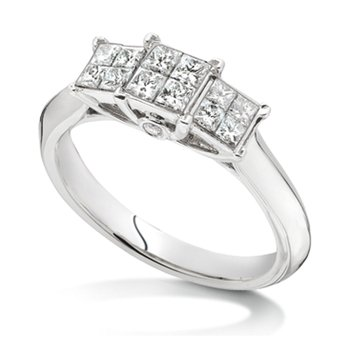 Invisible set Princess cut Diamond Ring in 14k White Gold (1/3 ct. tw.)