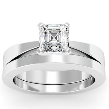 Tapered Solitaire Engagement Ring with Matching Wedding Band
