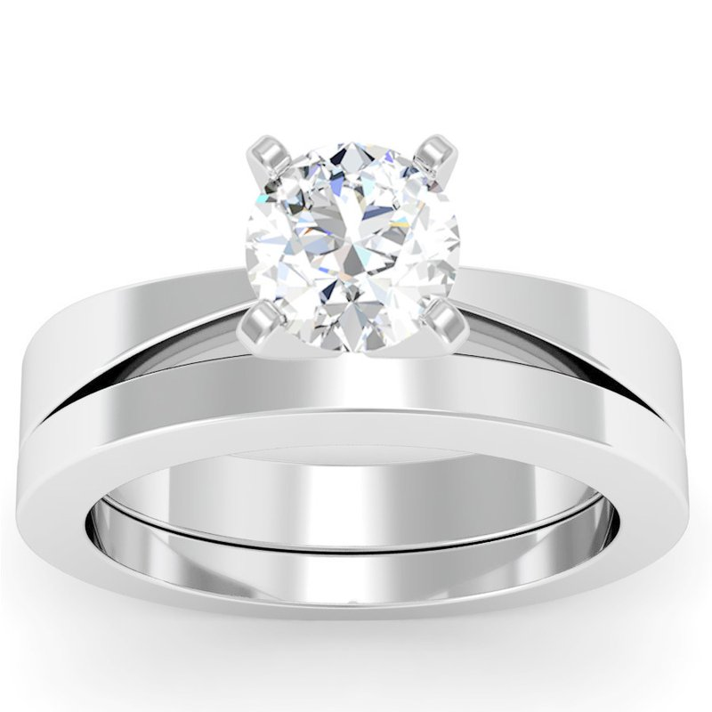 California Coast Designs Tapered Solitaire Engagement Ring with Matching Wedding Band