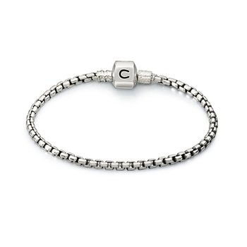 Silver Box Chain Bracelet, Oxidized