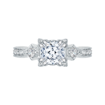 18K White Gold Cushion Cut Diamond Vintage Engagement Ring (Semi-Mount)