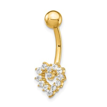 14k CZ Heart Belly Ring