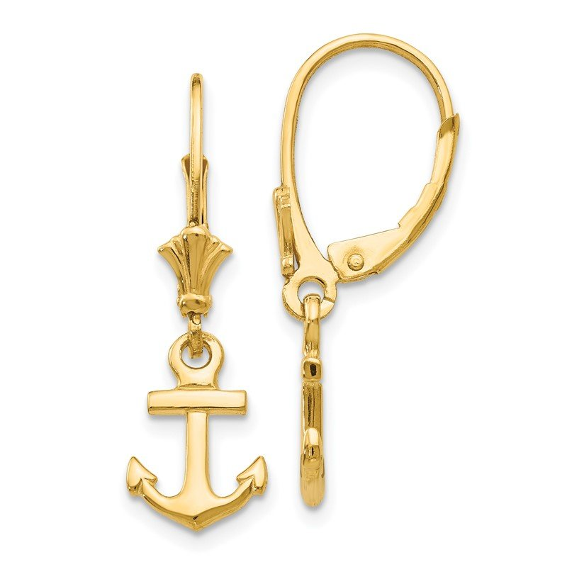 Quality Gold 14K Mini Anchor Leverback Earrings