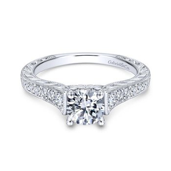 14k White Gold Diamond Straight Channel and Hand Cut Etched Engagement Ring