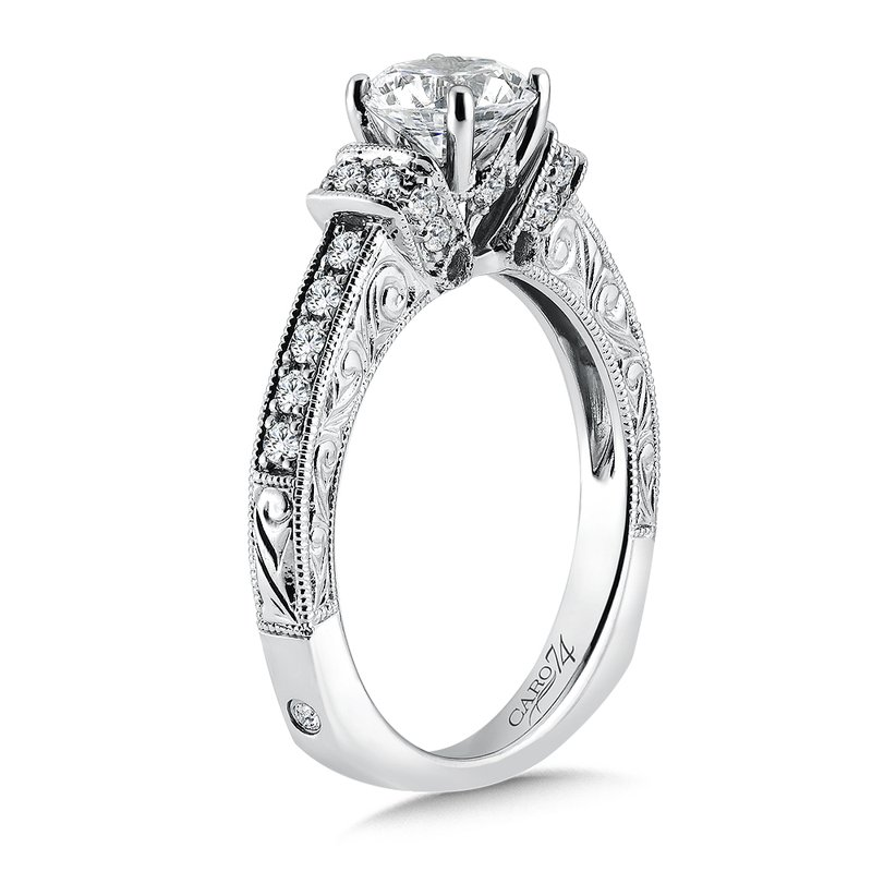Caro74 Inspired Vintage Collection Engagement Ring With Diamond Side Stones in 14K White Gold with Platinum Head (1ct. tw.)