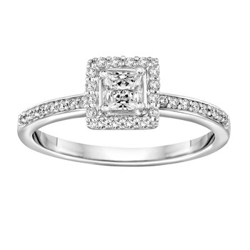 BLISS17: 14KW Princess Halo Engagement Ring