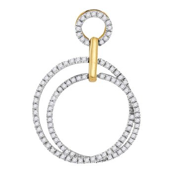 10kt Yellow Gold Womens Round Diamond Interlocking Circle Pendant 1/3 Cttw