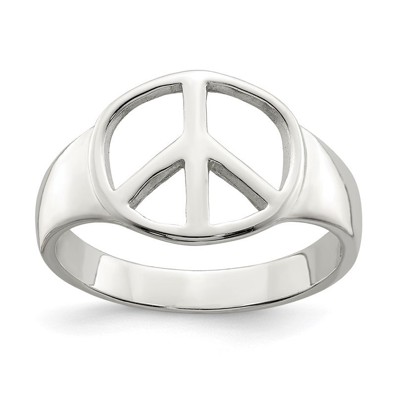 Quality Gold Sterling Silver Peace Sign Ring