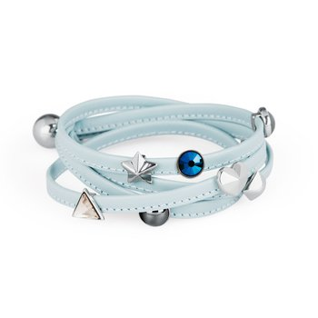 Bracelet. Turquoise leather, 316L stainless steel elements and Swarovski® Elements stones