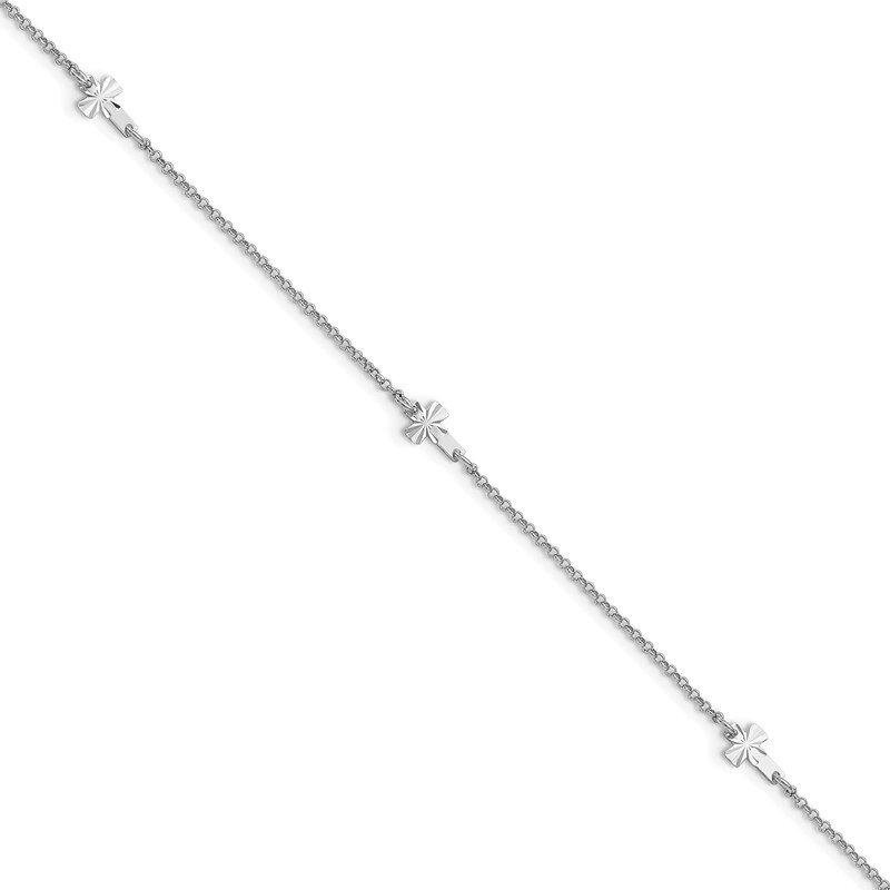 Quality Gold Sterling Silver Rhod-plated Diamond-cut Crosses 9in Plus 1in Ext. Anklet
