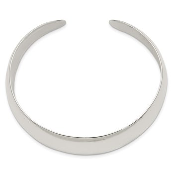 Sterling Silver Solid Polished Plain Cuff Bangle Bracelet