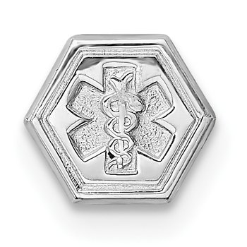Sterling Silver Rhodium Non-enameled Attachable Emblem Medical Charm