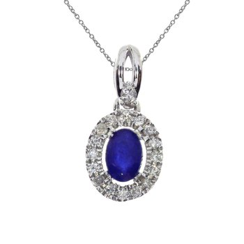 14k White Gold  Oval Sapphire and Diamond Halo Pendant