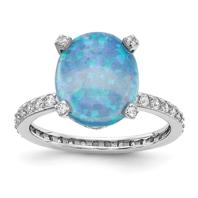Cheryl M Cheryl M SS Lab Created Blue Opal Ring