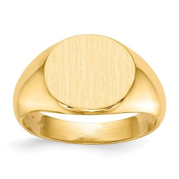 14k 12.5x13.5mm Open Back Mens Signet Ring