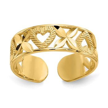 14k Diamond-cut X & Heart Toe Ring