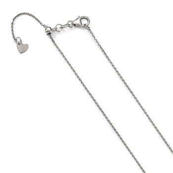 Leslie's 14K White Gold Adjustable 1.1mm D/C Cable Chain
